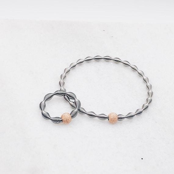 women's rose gold bracelet original, guitar string bracelet, elastic bracelet, industrial design bracelet, original design bracelet