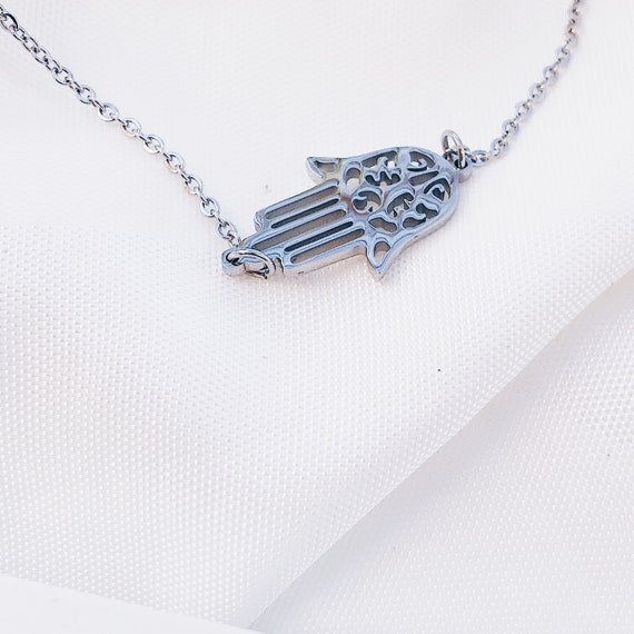 hamsa necklace, hamsa jewelry, good luck charm, charm necklace, lucky necklace, delicate necklace, hamsa choker, Fatima hand necklace