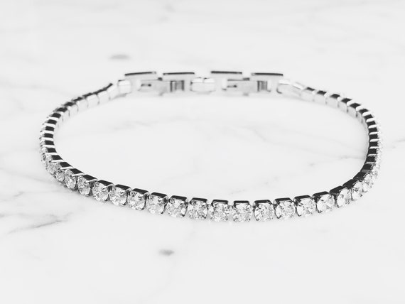 tennis bracelet with cubic zirconia, delicate bridal bracelet, crystal bracelet vintage, engagement bracelet