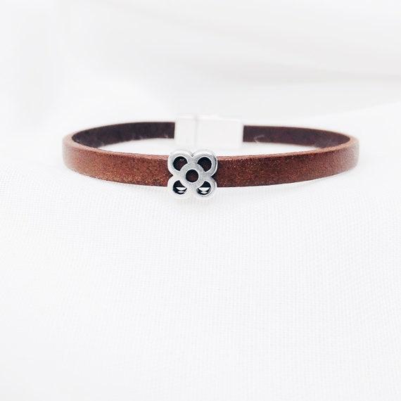 panot bracelet, leather bracelet, Barcelona flower bracelet, Barcelona flower bracelet, Barcelona tile, Panot, Barcelona gifts