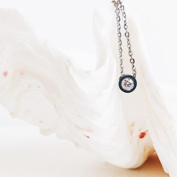 cubic zirconia solitaire, steel necklace, cubic zirconia necklace, silver necklace, minimalist choker, fine chain with zirconium