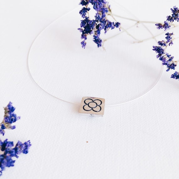 silver panot flower pendant, Barcelona woman necklace, minimalist jewelry, Barcelona flower choker, BARCELONA flower pendant, PANOT pendant