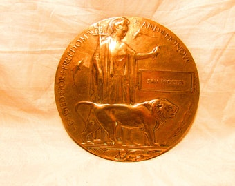 Original WW1 bronze  death plaque / penny bronze The Great War