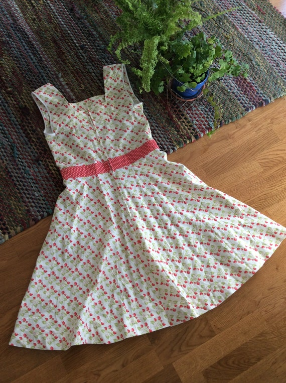 Vintage Rockabilly Sun Dress Strawberries and Pol… - image 5