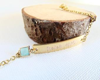 Personalized Bar Bracelet, Bridesmaid Gift,  Customized engraved nameplate bracelet, Gold bracelet, Birthstone jewelry, Mint wedding