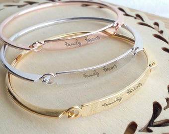 Actual Handwriting bangle, Custom handwritten bar bracelet, Personal engraved signature cuff, Memorial Keepsake Gift, Rose gold name bangle.