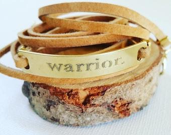 Warrior bracelet, Leather wrap bracelet, customized inspirational message bar bracelet, Engraved motivational quote jewelry, Survivor gift.