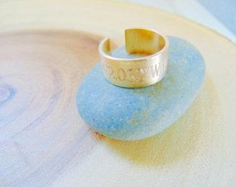 Coordinates ring, Personalized engraved Location Ring, GPS ring, Customized Latitude Longitude ring, adjustable wide Gold ring band.
