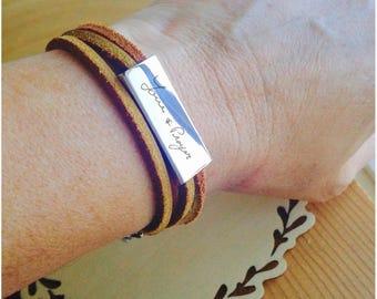 Custom handwriting Leather bracelet, Personalized message wrap bracelet, actual handwriting bar bracelet, engraved Signature brown leather.