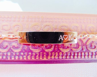 Name Plate Silver Bar Bracelet, Initial LOVE Bracelet, Bridesmaid Gift, Personalized Bar Bracelet, Customized engraved bracelet