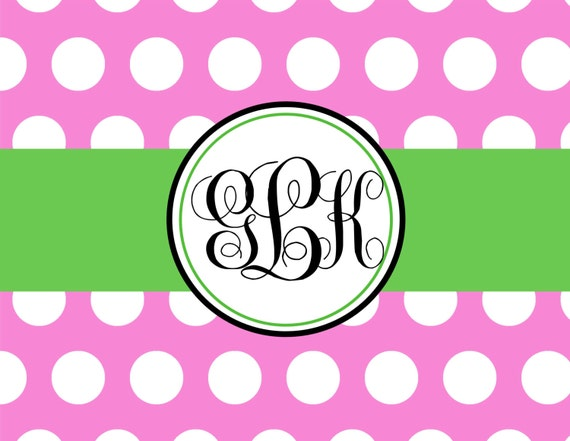 Item # 10524 Pink Polka Dot with Kelly Green