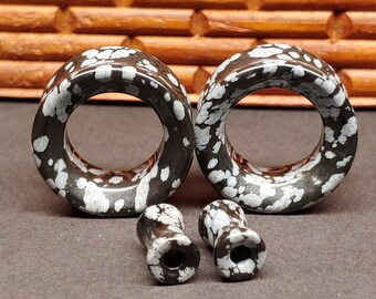 Inspiration Dezigns Snowflake Obsidian Stone Solid Saddle Fit Plugs Sold as Pairs