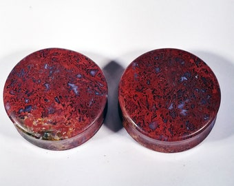 34mm (1-3/8 Inch) Hungarian Agate Stone Plugs.  14mm wearable surface.
