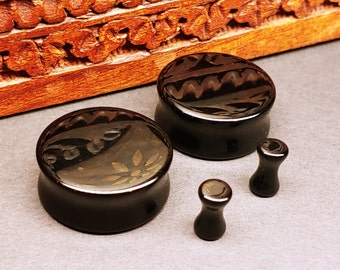 Stone Plugs Gauges - Black Agate Stone Plugs - Double Flare Body Jewelry for Stretched Ears - Natural Organic (Pair)