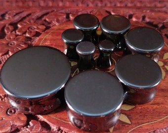 Stone Plugs Gauges - Hematite Stone Plugs - Double Flare Body Jewelry for Stretched Ears - Natural Organic (Pair)