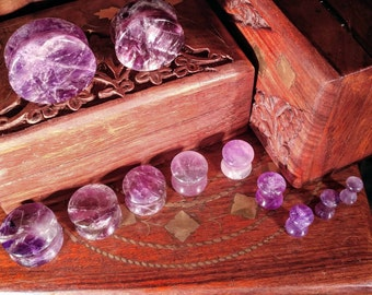 Stone Plugs Gauges - Amethyst Stone Plugs - Double Flare Body Jewelry for Stretched Ears - Natural Organic (Pair)