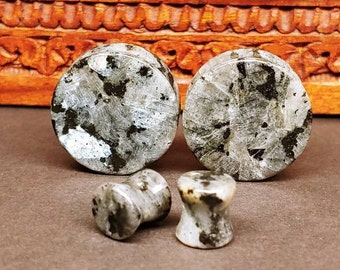 Stone Plugs Gauges - Larvikite Stone Plugs - Double Flare Body Jewelry for Stretched Ears - Natural Organic (Pair)