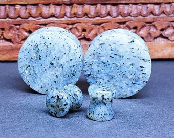 Stone Plugs Gauges - Sesame Quartz Stone Plugs - Double Flare Body Jewelry for Stretched Ears - Natural Organic (Pair)