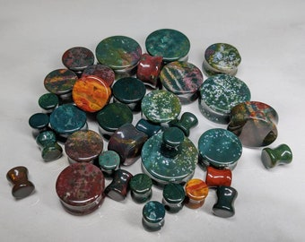 Stone Plugs Gauges - Indian Bloodstone Stone Plugs - Double Flare Body Jewelry for Stretched Ears - Natural Organic (Pair)