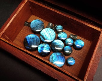 Stone Plugs Gauges - Labradorite Stone Plugs- Artist Color Choice - Double Flare Body Jewelry for Stretched Ears - Natural Organic (Pair)