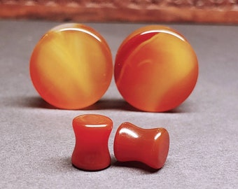 Stone Plugs Gauges - Red Agate Stone Plugs - Double Flare Body Jewelry for Stretched Ears - Natural Organic (Pair)