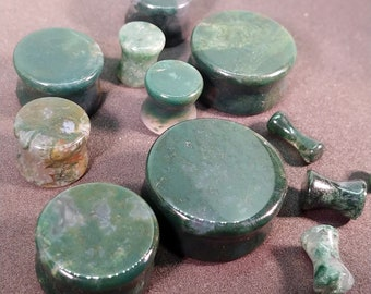 Stone Plugs Gauges - Green Moss Agate Stone Plugs - Double Flare Body Jewelry for Stretched Ears - Natural Organic (Pair)