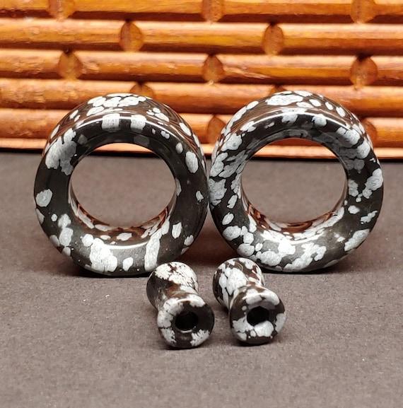 Natural Gemstone Organic Semi-Precious Snowflake Obsidian Ear Plug Tunnel Gift