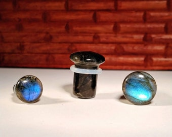 Stone Plugs Gauges - Labradorite Stone Plugs - Single Flare Body Jewelry for Stretched Ears - Natural Organic (Pair)