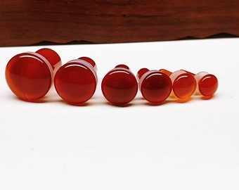 Stone Plugs Gauges - Red Agate Stone Plugs - Single Flare Body Jewelry for Stretched Ears - Natural Organic (Pair)