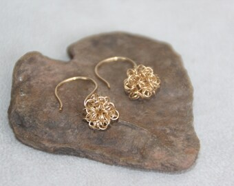 14K gold filled drop wire balls earrings. Handcrafted earrings. Dangle earrings. Gold earrings. Gold wire jewelry. Mother's day