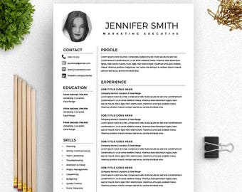 Resume With Photo Marketing Template Word Creative Cover Letter Executive