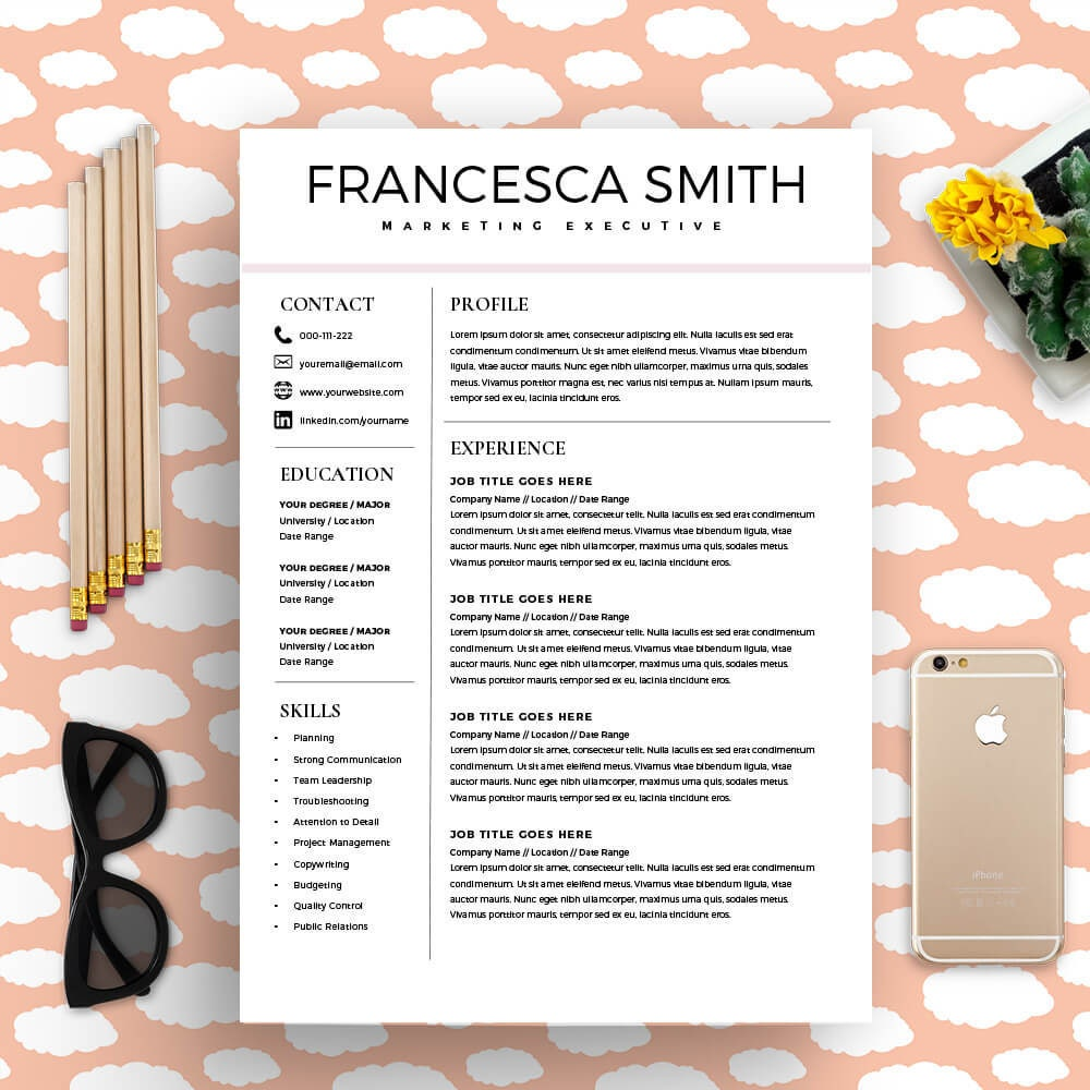 feminine resume cv design resume download ms word resume
