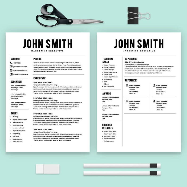 Resume Template Resume Builder Cv Template Cover Letter Ms Word On Mac Pc Sample Best Resume Templates Instant Download