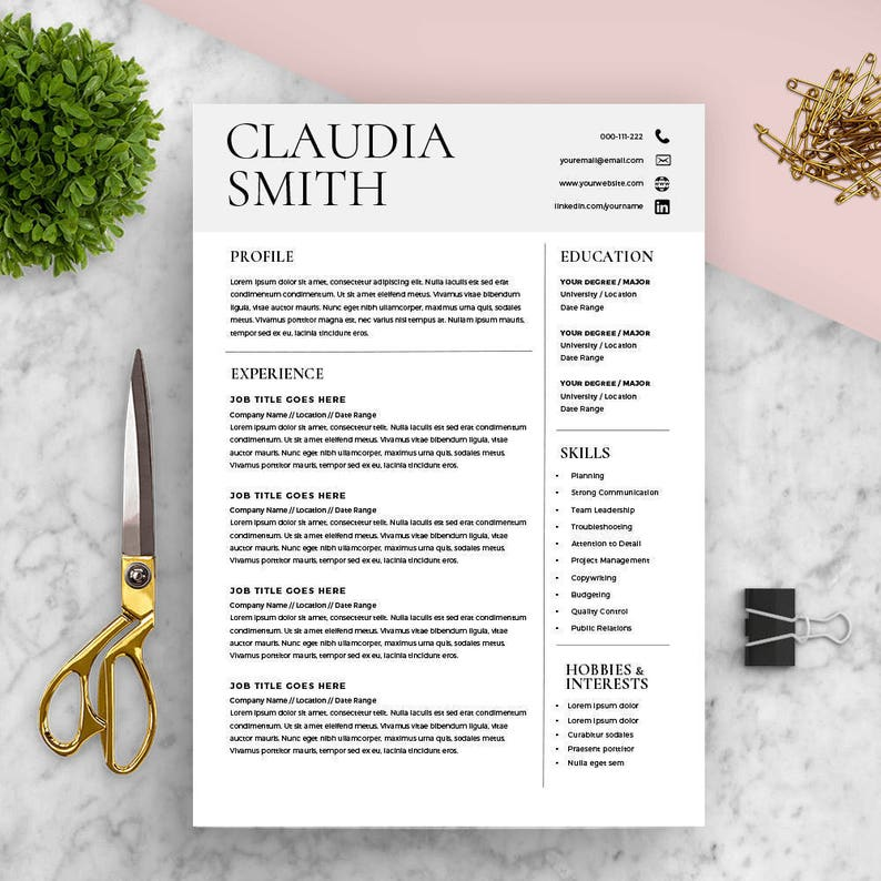 Medical Resume Template Word Minimalist Resume with Cover | Etsy