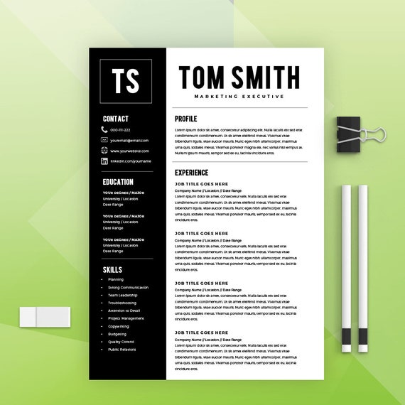 Two Page Resume Template Resume Builder Cv Template Cover Letter Ms Word On Mac Pc Sample Instant Download