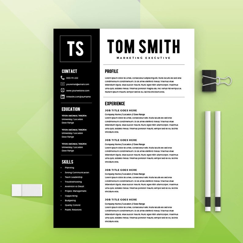 Two Page Resume Template Builder CV