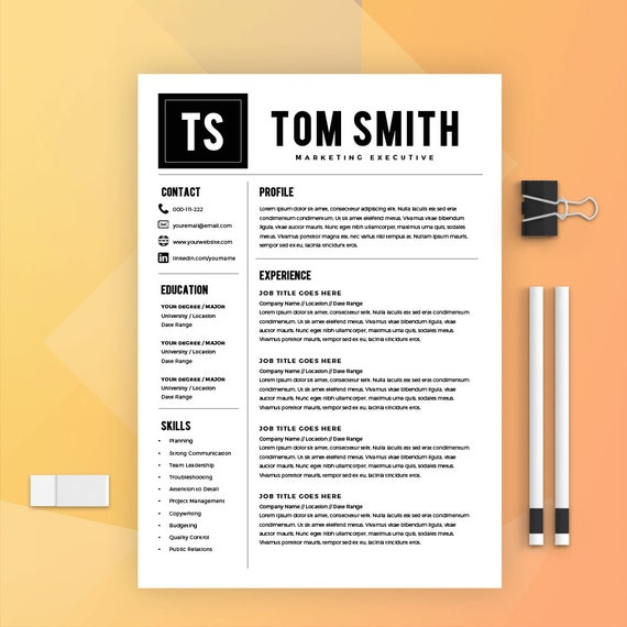 Modern Resume Template + Cover Letter - CV Template - MS Word on Mac / PC -  Sample - Best Resume Templates - Instant Download