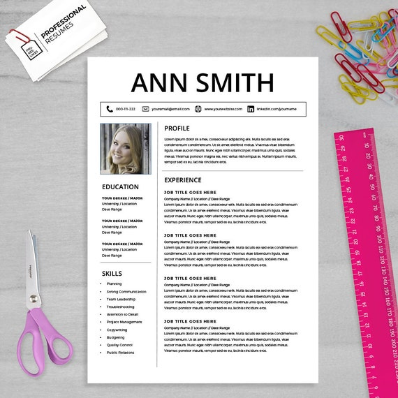 Curriculum Vitae Template Cv Template Cover Letter Ms Etsy