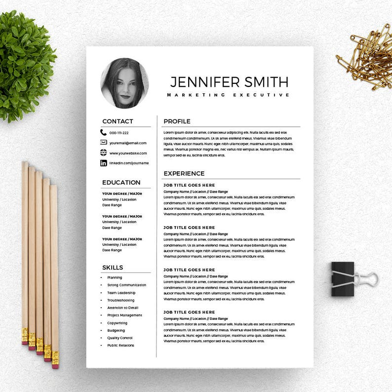 Resume With Photo Marketing Template
