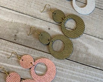 Circle Leather Earrings with Metallic Stripe   Choice of Pink, Green or White   Boho Earrings