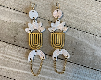 Leather Chandelier Earrings with Chain   Painted Leather Earrings   Statement Earrings
