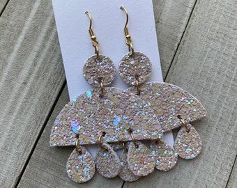 Iridescent Vegan Leather Earrings   Glitter Dangle Earrings