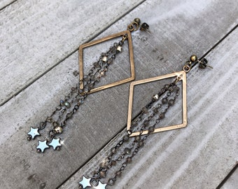 Brass Geometric Earring with Beaded Chain & Hematite Stars   Brass Dangle Earrings with Star Charms  