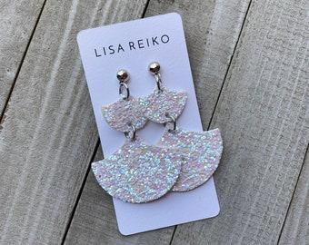 White Opalescent Glitter Fan Vegan Leather Earrings   Faux Leather Stainless Steel Earrings