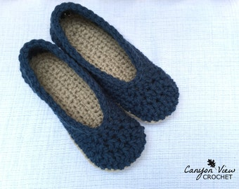 99842a074b9ad8 Women s Slippers Crochet House Slippers Ladies Cozy Home Shoes Slip-on  Ballet Flats Fall Winter Footwear for Her Sizes 3-12 Customize Colors