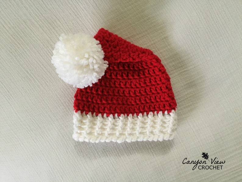 2d7c8a96f55 Santa Hat Crochet Red and White Santa Claus Hat Newborn