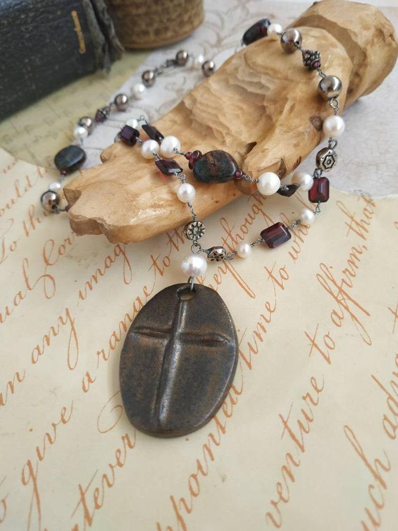 Raku ceramic pendant with garnet and freshwater pearls handmade dark silver beaded chain rosary cross necklace gemstone pearl werewolf