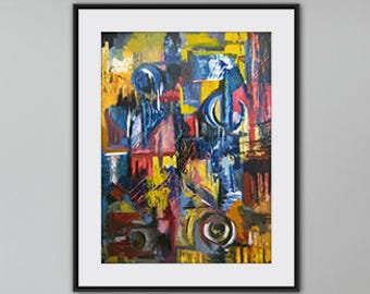 Original abstract oil painting on paper, oil painting on paper original in red blue yellow black colors Wall Art artwork for interior design