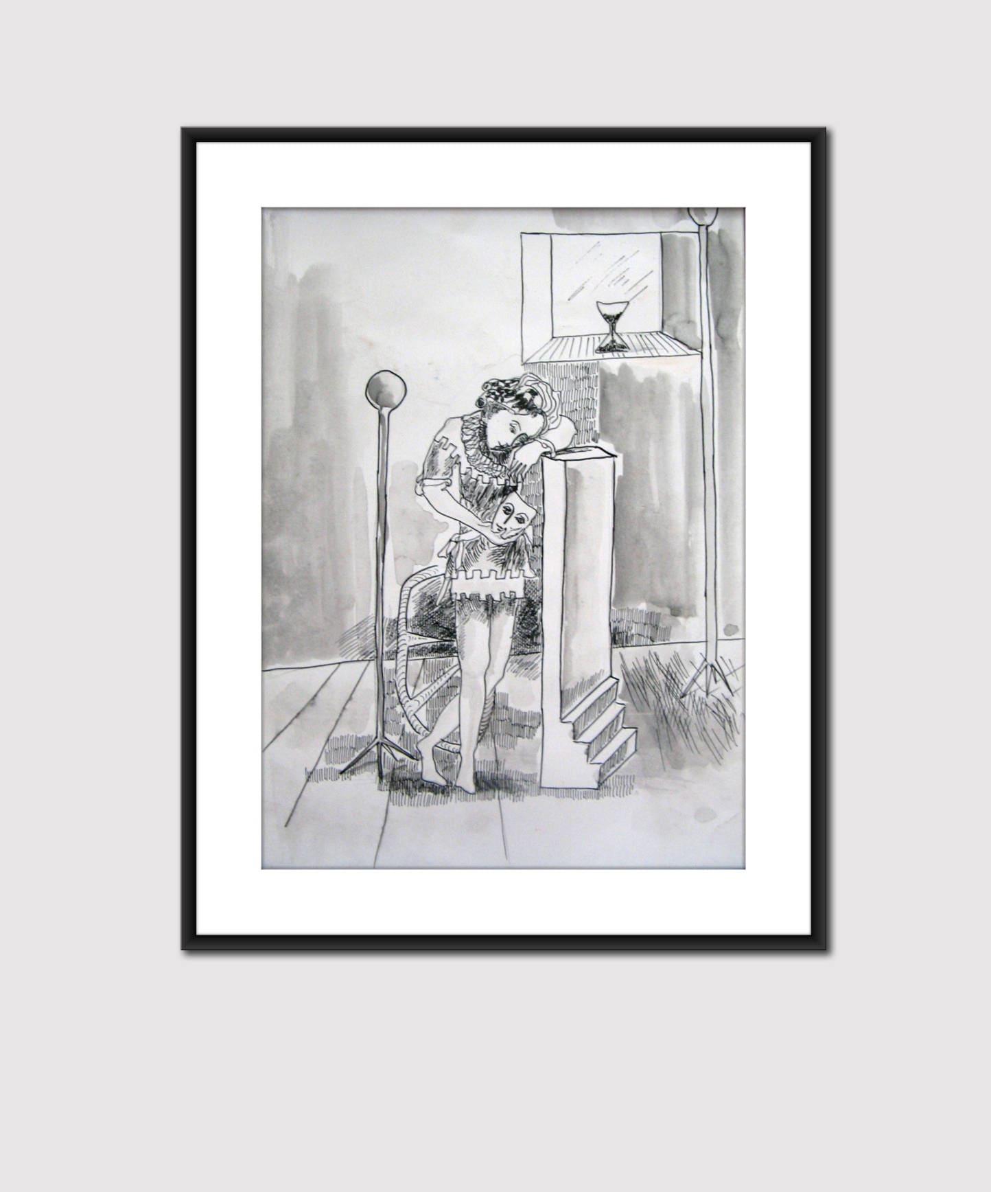 Sad clown black ink original painting on paper drawing on paper original in black white colors wall art artwork for interior design