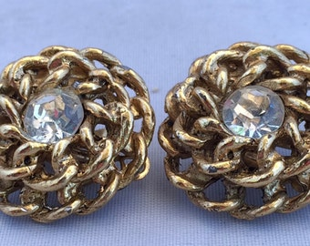 Christmas Gift Vintage Clip-on Earrings Birthday Gift Chain Design Gold-tone Surrounding a Clear Crystal Round Stone Bridesmaid Gift